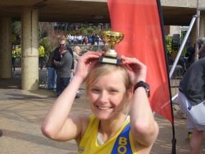 Gemma Bragg displays her third lady trophy