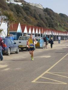 Peter Thompson finishes the Half Marathon