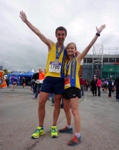Jez and Gemma Bragg celebrate solid runs in the Greater Manchester Marathon