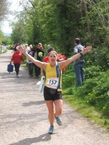 Caroline Rowley celebrates finishing