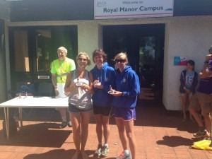 BAC's winning Ladies' Team Caroline Rowley, Nikki Sandell and Gemma Bragg with their trophies
