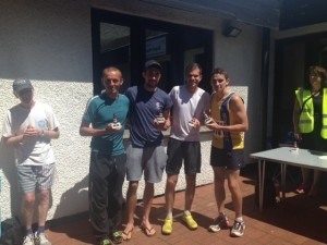 Jacek Cieluszecki, Peter Thompson, Jon Sharkey and Simon Munro with 1st Team trophies