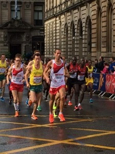 Steve Way in the lead, Commonwealth Games Marathon, Glasgow