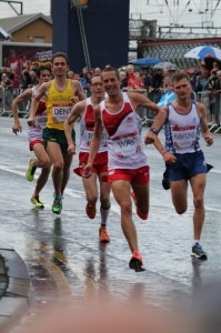 Steve Way leads the England team in the Commonwealth Games Marathon