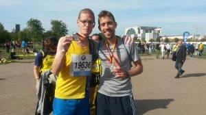 Billy McGreevy and Peter Thompson celebrate achieving their targets in the Berlin Marathon