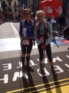 Gemma Bragg(371) prepares for the Ultra-Trail du Mont-Blanc