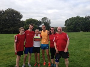 Running legends Ron Hill and Steve Way with some of their fans (the Brogan family) at the Heaton Parkrun