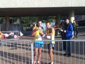 Jacek Cieluszecki (right) 1st and Steve Way 2nd in the Half Marathon