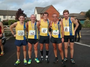 BAC's winning mens' team at Gilly Hilly - Simon Munro, Graeme Miller, Jon Sharkey, Simon Way and Paul Hill