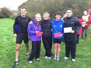 Jon Sharkey, Gemma Bragg, Caroline Rowley, Nikki Sandell and Simon Munro are justifiably happy after the Wimborne 10