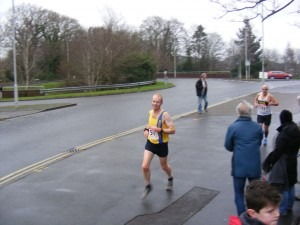Steve Cox still smiling at the end of the first lap at Broadstone