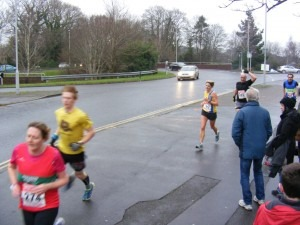 Caroline Rowley completes the first lap at Broadstone