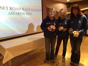 Caroline Rowley, Gemma Bragg and Nikki Sandell with the 1st Ladies' Team DRRL 2014 prizes