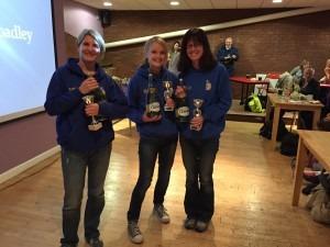 Caroline Rowley, Gemma Bragg and Nikki Sandell - Broadstone Quarter 1st Ladies' Team