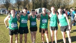 Simon Munro (4252), Jamie Grose (4249) and Rob McTaggart (4251) are part of the Dorset SM team at the Inter Counties XC