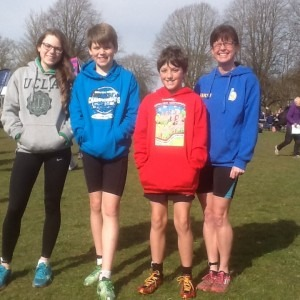 Bridget and Jim Dence, Tom Farwell and Nikki Sandell enjoy the sunshine at the Inter Counties XC