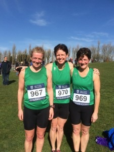 Nikki Sandell (970) and Louise Price (969) in their Dorset vests at the Inter Counties XC