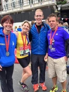 Four contented marathon finishers - Nikki Sandell, Caroline Rowley, Billy McGreevy and Richard Nelson