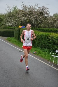 Jon Sharkey competes for England in the Anglo-Celtic 100k Plate