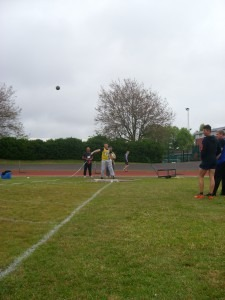 Peter Briant on his way to 2nd position in the Shot putt