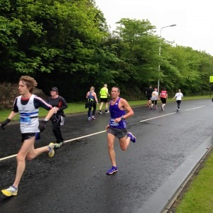 Steve Way at 11 miles in the Edinburgh Marathon.................