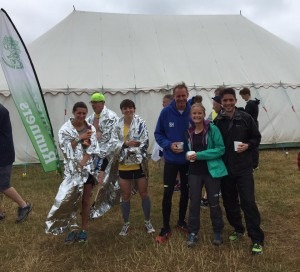 (From right to left) Chris O'Brien, Gemma Bragg, Simon Hearn and Heidi Tregenza warm up after a wet and windy New Forest 10