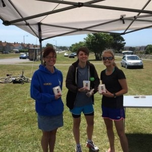 Nikki Sandell, Heidi Tregenza and Gemma Bragg, BAC's winning ladies' team in Portland 10