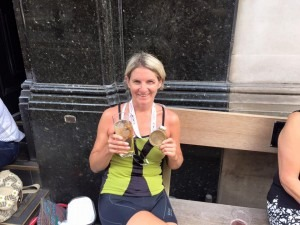 Caroline Rowley with a well-deserved cider after cycling the 100 mile RideLondon-Surrey