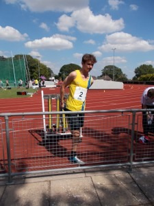 Lewis Sainval prepares for the 800m