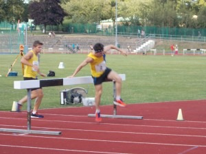 Ben Arnold and Rob McTaggart tackle a 3000m s/c barrier