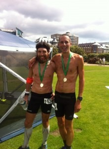 Paul Martelletti and Steve Way celebrate a new course record in the 'Round The Rock' (Jersey) 2015 Ultra