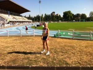 Janet Dickinson competing in the World Masters heptathlon, Lyon, France