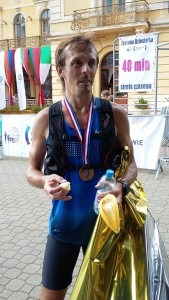 Jacek Cieluszecki displays a well-earned medal, after finishing 11th in the 100k '7 Valley Run', Poland