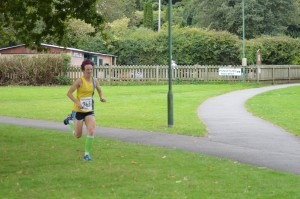 Heidi Tregenza on her way to a win at the Littledown 5