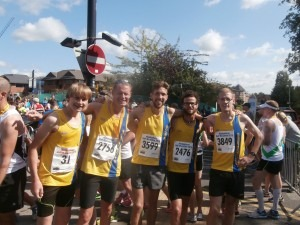Sebastian Hearn, Simon Hearn, Peter Thompson, Manol Dimitrov and Billy McGreevy - Maidenhead Half Marathon