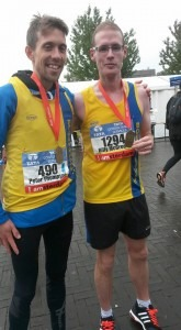 Peter Thompson and Billy McGreevy with their Amsterdam Marathon finishing medals