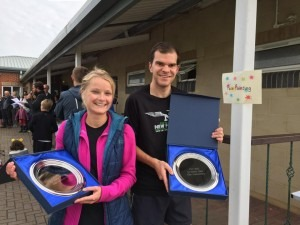 Gemma Bragg and Jon Sharkey with their Chalke Valley 10k Challenge trophies