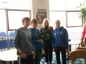 BAC Ladies Team receive their Weymouth 10 trophies from Weymouth's Mayor - Heidi Tregenza, Nikki Sandell and Gemma Bragg