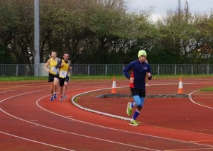 Damian Boyle and Paul Consani race for the line