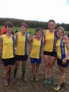 BAC Ladies' team, Hampshire XC League, Popham - Nikki Sandell, Heidi Tregenza, Louise Price, Elissa Clark and Caroline Rowley