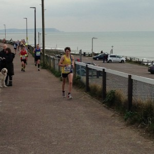 Heidi Tregenza on her way to a PB and third lady in the Bournemouth 10