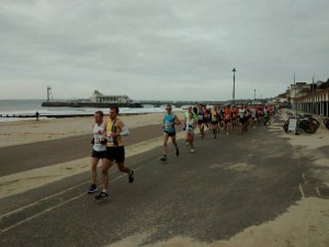 Jon Sharkey and Anthony Clark amongst the leaders at the start of the Bournemouth 10