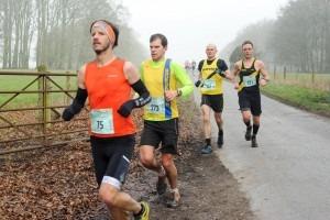 Anthony Clark (3rd) and Jon Sharkey (winner) in the Larmer Tree Marathon