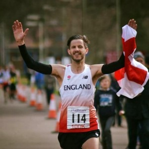 Anthony Clark celebrates a successful run in the Anglo-Celtic 100k Plate