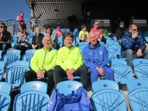 Dave, Geoff Scott (Poole Runners) and Ian relaxing in the sun prior to the 5k