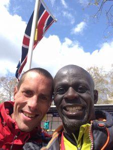 Steve Way celebrates finishing with Kojo Kyereme