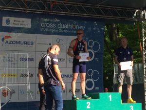 Ross Smith on the podium at the European Duathlon Championships