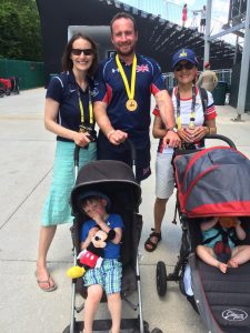 Luke Sinnott proudly displays one of his medals at the Invictus Games, Florida