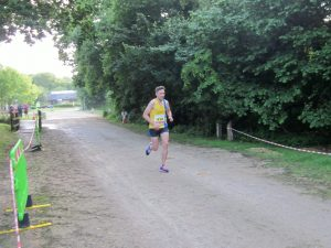 Peter Thompson approaches the finish of the Purbeck 10k