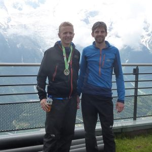 Toby Chapman (right) 1st Brit in Mont Blanc Marathon with 2nd Brit (Christopher Armit)